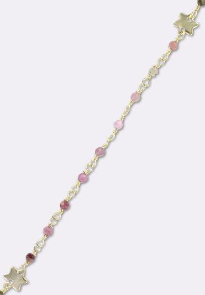 Tourmuline Gemstone 925 Silver Gold Plated Rosary Chain For Jewelry Making