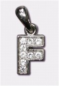 F Charms W / Enamel And Rhinestones Letter x1