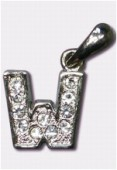 W Charms W / Enamel And Rhinestones Letter x1