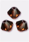 3mm Swarovski Crystal Bicone Beads 5328 Smoked Topaz x50