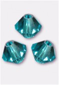 4mm Swarovski Crystal Bicone Beads 5328 Blue Zircon x50