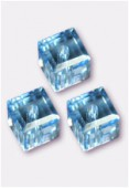 4mm Swarovski Crystal Cube Bead 5601 Aquamarine x6