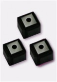 4mm Swarovski Crystal Cube Bead 5601 Jet x6