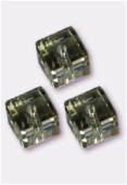 4mm Swarovski Crystal Cube Bead 5601 Black Diamond x6
