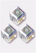 6mm Swarovski Crystal Cube Bead 5601 Crystal AB x 2
