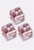 6mm Swarovski Crystal Cube Bead 5601 Pink Light x2