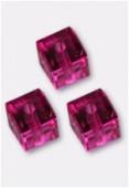 6mm Swarovski Crystal Cube Bead 5601 Fuchsia x2