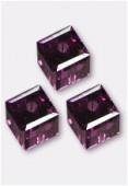 6mm Swarovski Crystal Cube Bead 5601 Amethyst x2