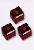 6mm Swarovski Crystal Cube Bead 5601 Siam x2