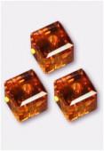 6mm Swarovski Crystal Cube Bead 5601 Topaz x2