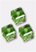 6mm Swarovski Crystal Cube Bead 5601 Peridot x2