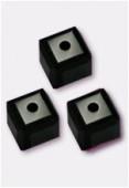 6mm Swarovski Crystal Cube Bead 5601 Jet x2