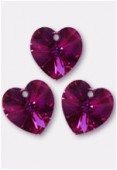 18x17.5mm Swarovski Crystal 6228 Heart Pendant Fuchsia AB x1