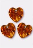 18x17.5mm Swarovski Crystal 6228 Heart Pendant Topaz AB x1