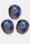 4mm Czech Round Fire Polish Glass Beads Montana AB x50