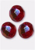 8mm Czech Round Fire Polish Glass Beads Siam AB x12