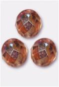 8mm Czech Round Fire Polish Glass Beads Peach AB x12
