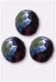 12mm Czech Round Fire Polish Glass Beads Dark Amethyst AB x2