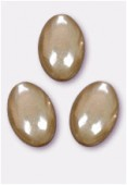 16x11mm Czech Glass Coin Oval Beads Shiny Beige x2