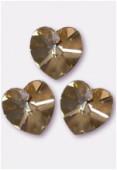 18x17.5mm Swarovski Crystal 6228 Heart Pendant Crystal Golden Shadow x1