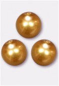 10mm Czech Smooth Round Pearls Gold x4
