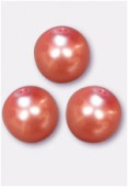 10mm Czech Smooth Round Pearls Salmon x4