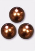 10mm Czech Smooth Round Pearls Hazelnut x4