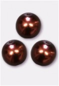 10mm Czech Smooth Round Pearls Chocolate x4