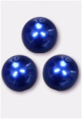 10mm Czech Smooth Round Pearls Blue x4