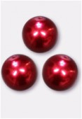 10mm Czech Smooth Round Pearls Red x4