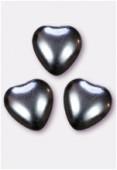 12x11mm Czech Smooth Heart Pearls Hematite x4