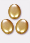 12x9mm Czech Smooth Oval Coin Pearls Gold x4