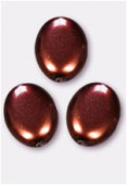 12x9mm Czech Smooth Oval Coin Pearls Chocolate x4