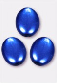 12x9mm Czech Smooth Oval Coin Pearls Blue x4