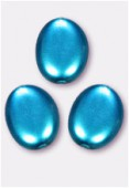 12x9mm Czech Smooth Oval Coin Pearls Turquoise x4