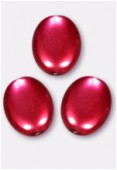 12x9mm Czech Smooth Oval Coin Pearls Red x4