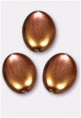 20x14mm Czech Smooth Oval Coin Pearls Hazelnut x2