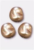 12x11mm Czech Smooth Baroque Pearls Beige x2