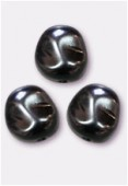 12x11mm Czech Smooth Baroque Pearls Hematite x300