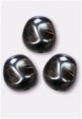 12x11mm Czech Smooth Baroque Pearls Hematite x2