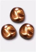12x11mm Czech Smooth Baroque Pearls Hazelnut x2