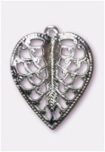 15x19mm Silver Plated Filigree Leaf Stamping Pendant x2