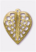 15x19mm Gold Plated Filigree Leaf Stamping Pendant x2
