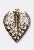 15x19mm Antiqued Brass Plated Filigree Leaf Pendant x2