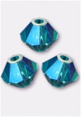 4mm Swarovski Crystal Bicone Beads 5328 Blue Zircon AB2x x50