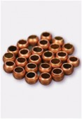 3mm Antiqued Copper Plated Crimp Beads Jewellery Findings x5gr