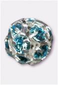 16mm Aquamarine / Silver Rhinestone Ball Beads W / Prong Set Czech Crystals x1