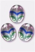 12x9mm Czech Glass Coin Oval Beads Pink + Bue + Green / Crystal x4