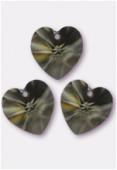 18x17.5mm Swarovski Crystal 6228 Heart Pendant Black Diamond x1