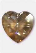 28mm Swarovski Crystal Heart Pendant 6228 Crystal Golden Shadow x1